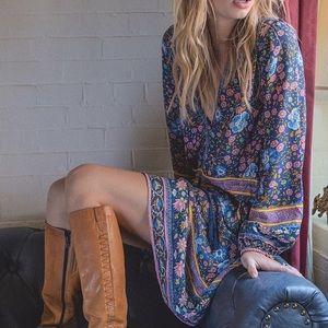 Dresses & Skirts - Navy Floral Longsleeve DRESS Tunic Playdress Folk